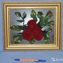 Картины, постеры, гобелены, панно - Панно с красными розами (кожа), 0