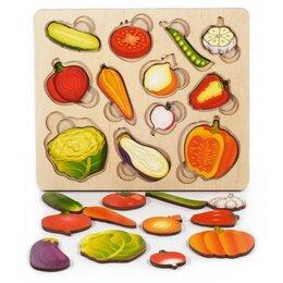 Развивающие игрушки - Овощи половинки Развивающая доска новая, 0