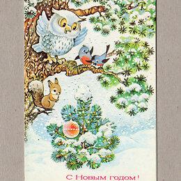 Открытки - Открытка СССР. Новый год. Жебелева, 1989, чистая, двойная, лес, птицы, белка, 0
