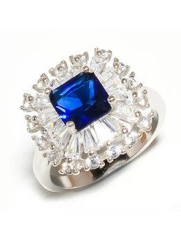 Кольца и перстни - перстень с сапфиром и белым топазом, 0
