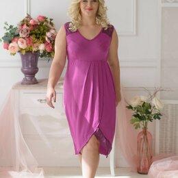 Домашняя одежда - Сорочка женская вискозная с нежным кружевом, слива, 0
