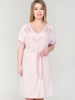 Домашняя одежда - Халат женский из вискозы пудра с кружевом на…, 0