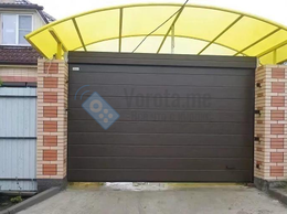 Заборы и ворота - Секционные ворота коричневого цвета для навеса, 0