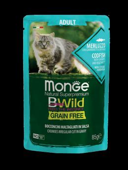 Корма  - Паучи Monge Cat BWild Grain Free для взрослых коше, 0