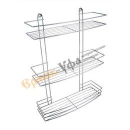 Полки, стойки, этажерки - Полка для ванной 3-ярусная (хром), 0
