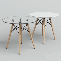 Столы и столики - Стол Eames d 90 закаленное стекло, 0