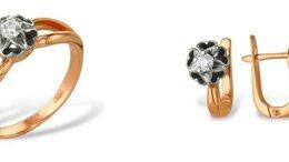 Комплекты - Золотой комплект с бриллиантами серьги М28510471 к, 0