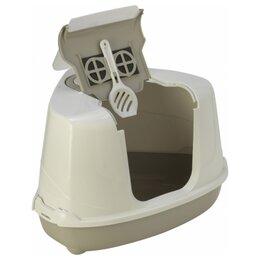 Туалеты и аксессуары  - Moderna Flip Corner (55x45x38h см) Серый Био-туалет угловой с совком для кошек, 0