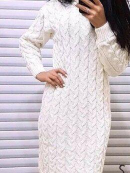 Платья - Платье вязаное косами белое с высоким горлом, 0