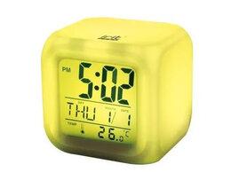 Часы настольные и каминные - Часы-календарь IR-600, 7 подсветок, термометр…, 0