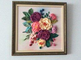 Картины, постеры, гобелены, панно - Вышивка лентами картина «Живописные розы», 0