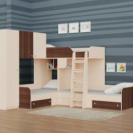 Кровати - Трехместная кровать ТРИО/1 дуб молочный-орех, 0