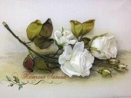 Картины, постеры, гобелены, панно - Картина Белые розы. Вышивка лентами. Акрил., 0