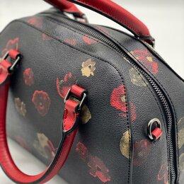 Сумки - Новая сумка Coach женская кожаная черная с цветами, 0