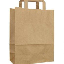 Подарочная упаковка - Крафт пакет бумажный 32х20х37 см, бурый с плоскими ручками, 0