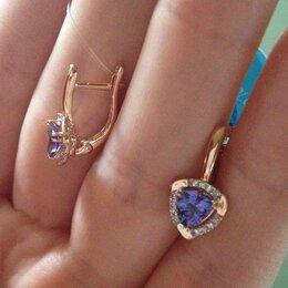 Серьги - Золоты серьги 585 с бриллиантами и танзанитами, 0