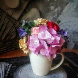 Сувениры - Букет в белой чашке - розы и гортензии из холодного фарфора, 0