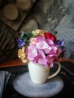 Сувениры - Букет в белой чашке - розы и гортензии из…, 0