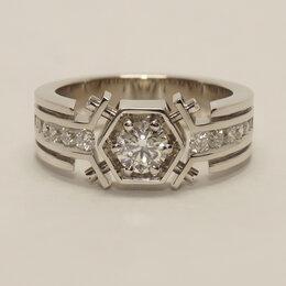 Кольца и перстни - Мужское кольцо с большим центральным бриллиантом…, 0