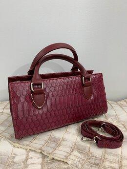 Сумки - Женская сумочка винного цвета - питон натуральный, 0
