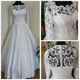 Платья - Атласное закрытое свадебное платье размер 54/56…, 0