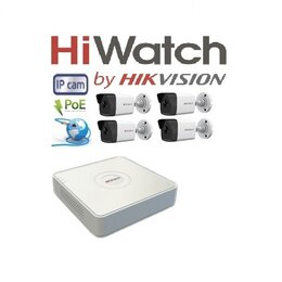 Камеры видеонаблюдения - Видеонаблюдение HiWatch (IP-POE) на 4камеры 2Mxp, 0