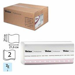 Туалетная бумага и полотенца - Полотенца бумажные 200 шт., VEIRO (Система H2) PREMIUM, 2-слойные, белые, КОМ..., 0