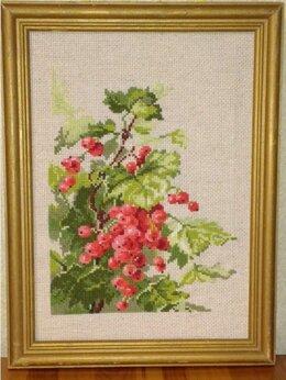 """Рукоделие, поделки и товары для них - Картина """"Красная смородина"""" (вышивка handmade), 0"""