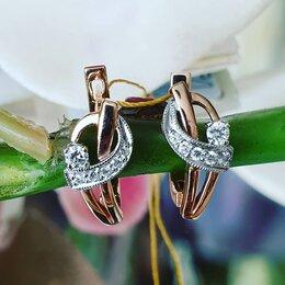 Серьги - Золотые серьги с бриллиантом, 0
