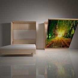 Кровати - Подъемная двуспальная кровать в шкафу 160х200. Взрослая с фотопечатью Ф-4, 0