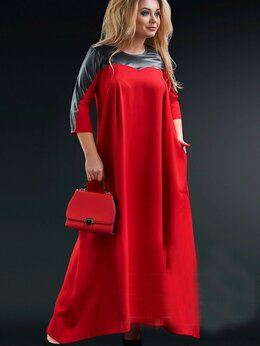 Платья - Длинное платье свободного кроя со вставками из…, 0