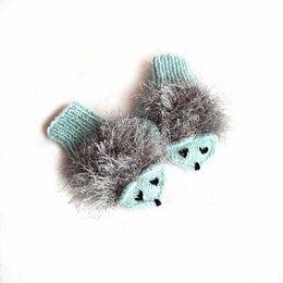 Перчатки и варежки - Детские Варежки ежики мятные с блестящей шубкой, 0