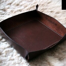Подставки и держатели - Кожаная подставка для мелочей (кожаная тарелка), 0