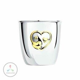Комплекты - Стаканчик из серебра 925 пробы, Сердце, позолота…, 0