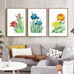 """Картины, постеры, гобелены, панно - Картина акварелью """"Цветы"""" в стиле японской…, 0"""