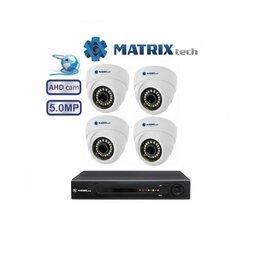 Камеры видеонаблюдения - Комплект видеонаблюдения matrix на 4камеры 5Mxp, 0