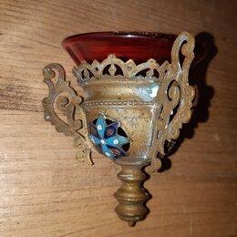 Другое - Лампада. Накладки эмаль. Стакан красное стекло. 19 век. Российская Империя., 0