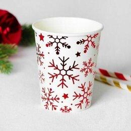 Бокалы и стаканы - Стаканы Снежинки, красные, 6шт, 0