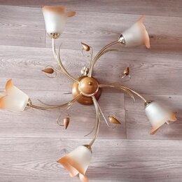 Люстры и потолочные светильники - Люстра символ света 5 рожковая золотистые рожки под дерево, 0
