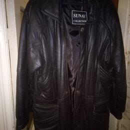 Куртки - Кожаная куртка мужская, теплая , 0