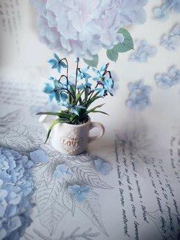 Сувениры - Лейка с пролесками. Цветы из холодного фарфора, 0