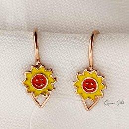 Украшения для девочек - Золотые детские серьги с эмалью Солнце Veronika С101-1151М1, 0