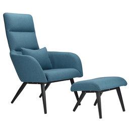 Кресла - Кресло с оттоманкой серо-голубое Berg Bridjet, 0