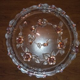 Декоративная посуда - Блюдо ис стекла.Диаметр 34см., 0