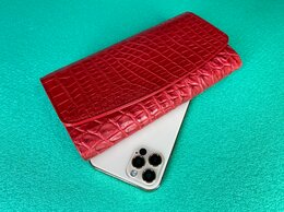 Кошельки - Крокодиловый кошелек женский красного цвета, 0