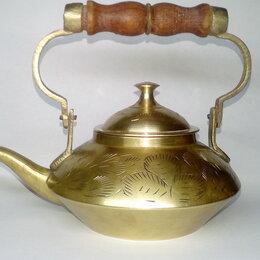Посуда - Чайник антикварный латунь с деревянной ручкой, 0