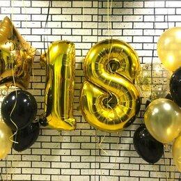 Воздушные шары - Композиция из гелиевых шаров к 18 летию золото, 0