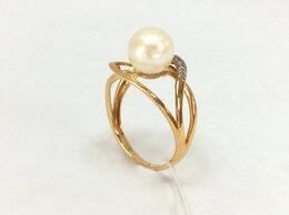Кольца и перстни - Золотое кольцо с природным Жемчугом, размер 17,0, 0