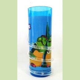 Одноразовая посуда - Стакан Лунтик с витой трубочкой (синий), 400 мл, 0