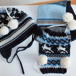 Головные уборы - Шапка+шарф с орнаментом (2-3 года), 0